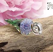 Украшения ручной работы. Ярмарка Мастеров - ручная работа Голубой цветок - кулон цветок лэмпворк - вставки серебро 925. Handmade.