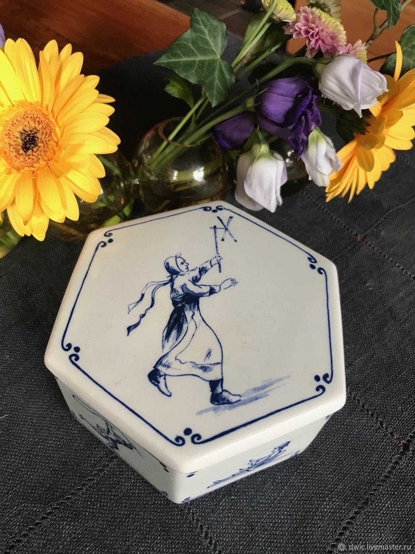 Makkum Motifs jewelry box, handmade, Delft, Holland, Vintage interior, Arnhem,  Фото №1