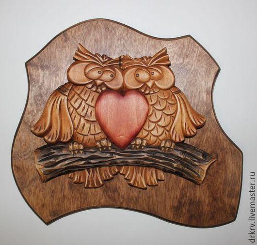 """Животные ручной работы. Ярмарка Мастеров - ручная работа. Купить Панно """"Совушки"""". Handmade. Сова, подарок, панно на стену"""