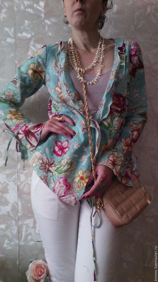 """Пиджаки, жакеты ручной работы. Ярмарка Мастеров - ручная работа. Купить блузка-жакет из белой крапивы """"Оттенки бирюзы"""". Handmade."""