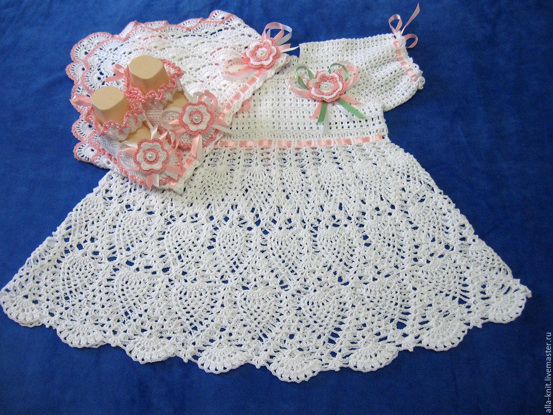 Вязание крючком крестильного платья для девочек 335