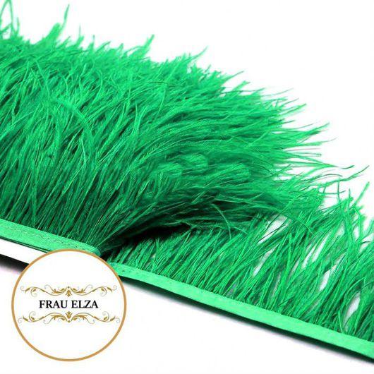 Другие виды рукоделия ручной работы. Ярмарка Мастеров - ручная работа. Купить Перья страуса на ленте зеленые. Handmade.