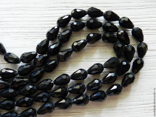 Бусины граненая капля 15 х 10 мм, отверстие ок. 1 мм, стекло черные (арт. 2128)