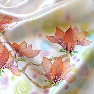 """Аксессуары ручной работы. Ярмарка Мастеров - ручная работа Батик платок """"Магнолия"""" 90Х90, шелковый. Handmade."""