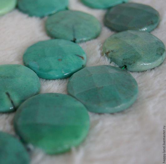 Для украшений ручной работы. Ярмарка Мастеров - ручная работа. Купить Агат  тонированный под хризопраз 30 мм монета. Handmade.