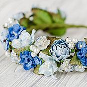 Украшения ручной работы. Ярмарка Мастеров - ручная работа Синий ободок для волос, Синий венок с цветами, Пастельное украшение. Handmade.