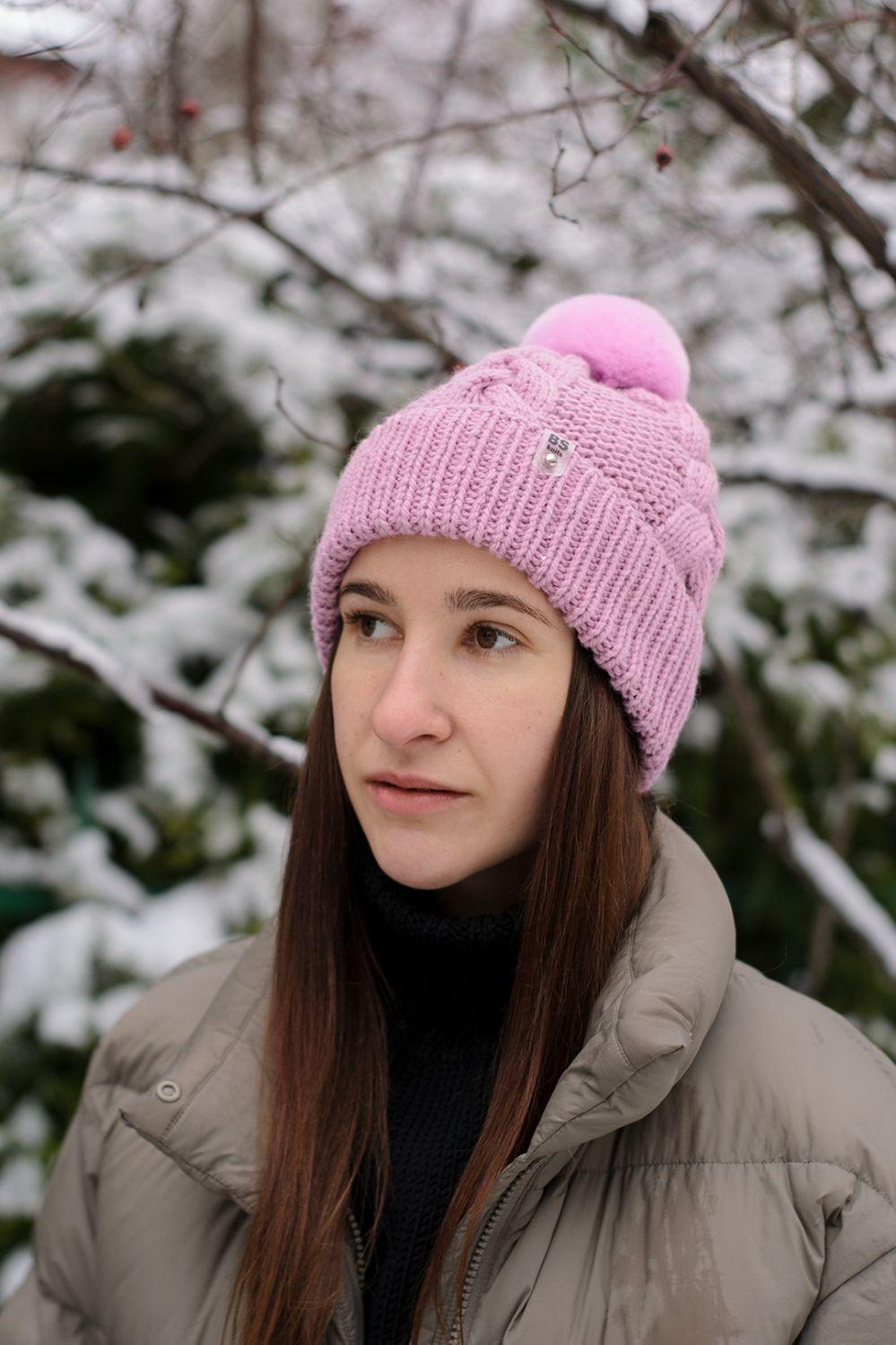 Шапка из шерсти альпаки с натуральным помпоном, Шапки, Москва,  Фото №1