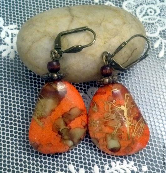 """Серьги ручной работы. Ярмарка Мастеров - ручная работа. Купить Серьги """"Оранжевое лето"""". Handmade. Рыжий, оранжевый, бусины для украшений"""