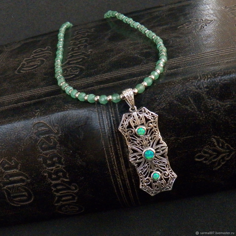 Pendant vintage silver Ethiopian opal jade necklace beads, Necklace, Voronezh,  Фото №1