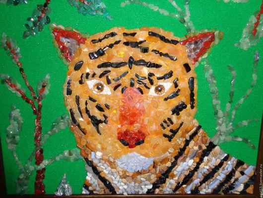 Животные ручной работы. Ярмарка Мастеров - ручная работа. Купить Тигр Амур. Handmade. Комбинированный, агат, самоцветы, картина из камня