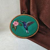 Картины и панно handmade. Livemaster - original item Hummingbird panel painting for interior.. Handmade.