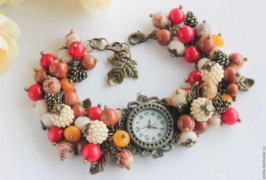 """Часы ручной работы. Ярмарка Мастеров - ручная работа. Купить Часы """"Осенний лес-3"""" из коралла, яшмы. Handmade."""