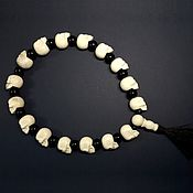 Фен-шуй и эзотерика handmade. Livemaster - original item Bone prayer beads with skulls and black agate. Handmade.