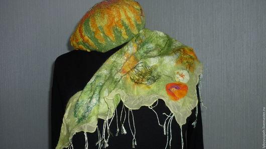 """Береты ручной работы. Ярмарка Мастеров - ручная работа. Купить комплект для малышек """"Радость"""" мокрое валяние. Handmade. Зеленый, шерсть"""