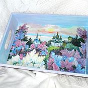 Для дома и интерьера handmade. Livemaster - original item Tray lilac from my window. Handmade.