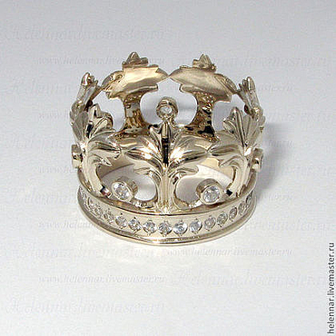 """Украшения ручной работы. Ярмарка Мастеров - ручная работа Кольцо-корона """"Аккант"""" из белого золота 750 пробы. Handmade."""