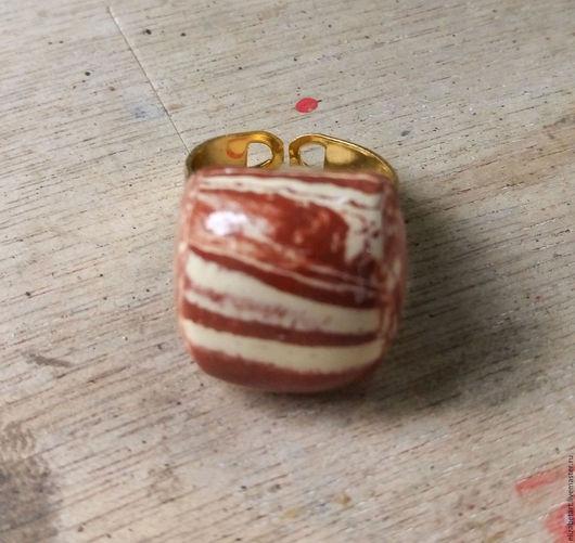 """Кольца ручной работы. Ярмарка Мастеров - ручная работа. Купить Керамическое кольцо """"Терракотта"""". Handmade. Рыжий, подарок девушке, керамика"""