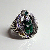 Русский стиль handmade. Livemaster - original item RING SCARAB OF MALACHITE AND EMERALD. Handmade.