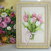 Pictures handmade. Livemaster - original item Picture ribbons Tulips 2 colors. Handmade.
