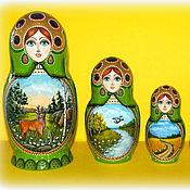 """Русский стиль ручной работы. Ярмарка Мастеров - ручная работа Матрёшка 5 мест""""Времена года"""". Handmade."""