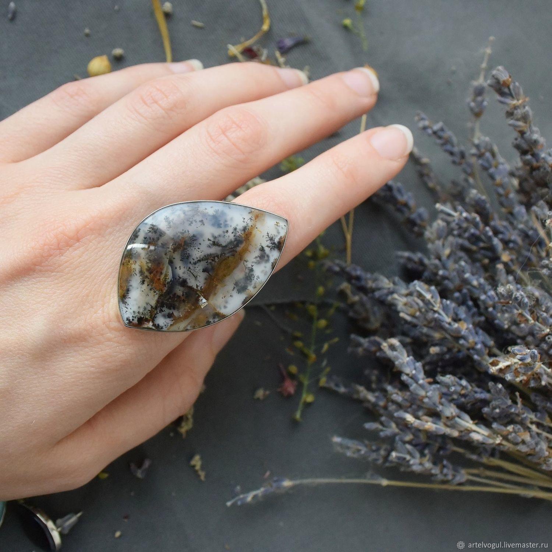 Кольцо на весь палец с моховым агатом (дендроагат), Кольцо на весь палец, Нижний Тагил,  Фото №1