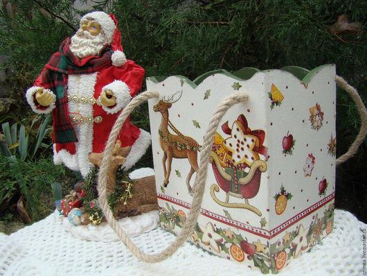 Корзины, коробы ручной работы. Ярмарка Мастеров - ручная работа. Купить Короб -сумка для подарков  Новогодние сладости. Handmade. Разноцветный