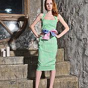 Одежда ручной работы. Ярмарка Мастеров - ручная работа Летнее платье в зеленую клетку. Handmade.