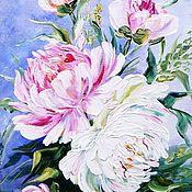 Картины и панно ручной работы. Ярмарка Мастеров - ручная работа Картина цветов с пионами. Handmade.