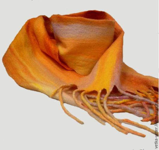 """Шарфы и шарфики ручной работы. Ярмарка Мастеров - ручная работа. Купить Шарф валяный из шерсти """"Восход солнца"""". Handmade. Оранжевый"""