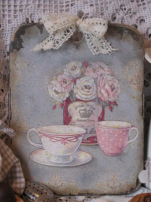 """Кухня ручной работы. Ярмарка Мастеров - ручная работа. Купить """" FINE TEAS """"  Досочка.. Handmade. Серый, чай"""
