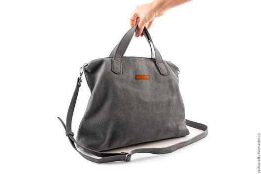 Женские сумки ручной работы. Ярмарка Мастеров - ручная работа. Купить Большая сумка из серой велюровой кожи Tail bag. Handmade.