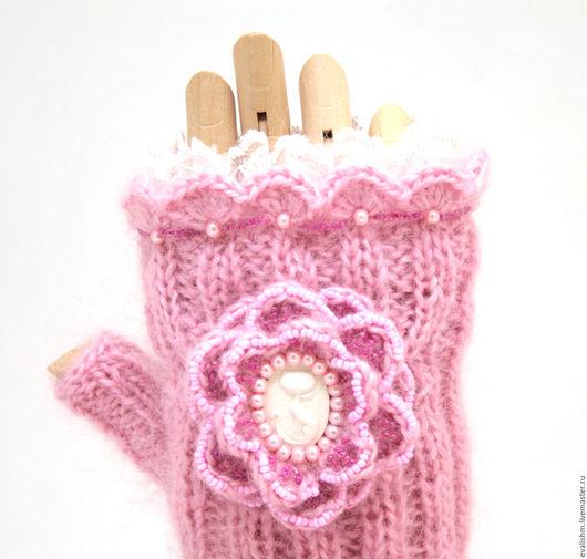 """Варежки, митенки, перчатки ручной работы. Ярмарка Мастеров - ручная работа. Купить Митенки """"Нежность"""" (розовые). Handmade. Розовый"""