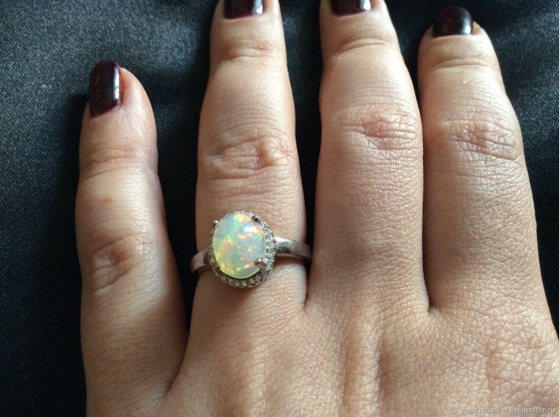 Fix price!Кольцо с ярким крупным опалом 10х8 мм, Кольца, Камышин,  Фото №1