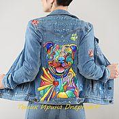 "Одежда handmade. Livemaster - original item Copy of Denim jacket in the style of pop art ""pit bull""hand-painted. Handmade."