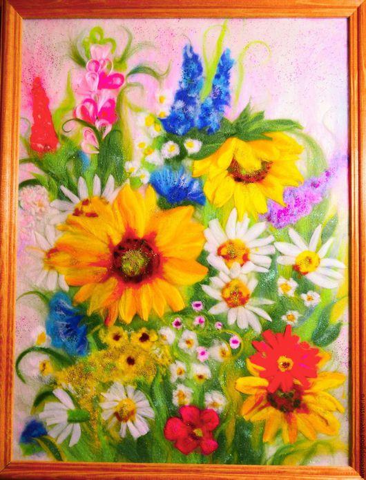 Картины цветов ручной работы. Ярмарка Мастеров - ручная работа. Купить В мире цветов.. Handmade. Разноцветный, шерстяная акварель
