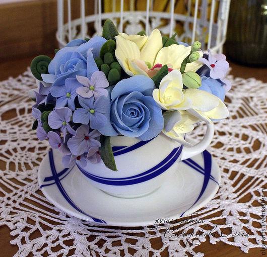 Букеты ручной работы. Ярмарка Мастеров - ручная работа. Купить Мини-букет в голубой чашке - 1. Handmade. Цветы