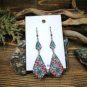 Украшения handmade. Livemaster - original item Long earrings with a pattern of polymer clay. Handmade.