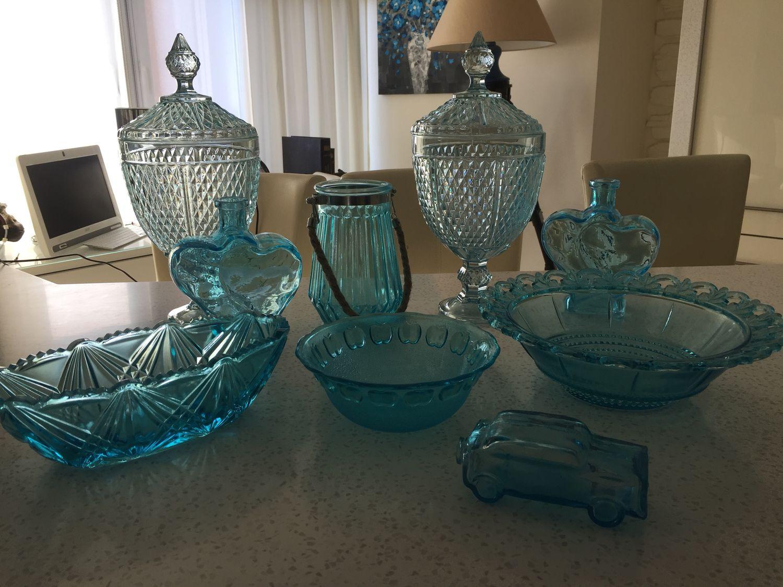 Коллекция бирюзового стекла 9 предметов