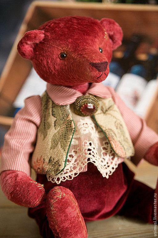Мишки Тедди ручной работы. Ярмарка Мастеров - ручная работа. Купить Baron Bordo. Handmade. Бордовый, тедди медведь, вино