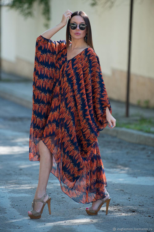 Summer, colorful chiffon tunic dress - KA0334CH, Dresses, Sofia,  Фото №1