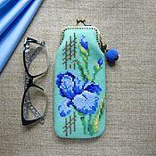 Сумки и аксессуары handmade. Livemaster - original item Eyeglass case: beaded Irises. Handmade.