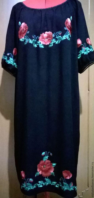 Платья ручной работы. Ярмарка Мастеров - ручная работа. Купить Вышитое платье  ЖП3-037. Handmade. Черный, вышиванка украинская