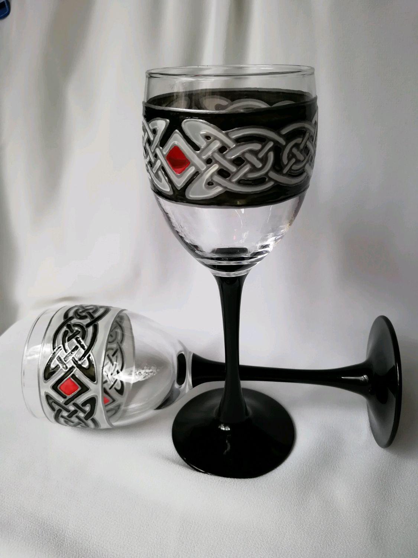 Бокалы для вина витражной росписи в кельтском стиле, Бокалы, Санкт-Петербург,  Фото №1