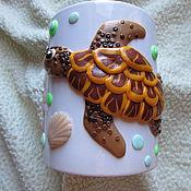 Кружки ручной работы. Ярмарка Мастеров - ручная работа Кружка Морская черепаха Декор полимерной глиной. Handmade.