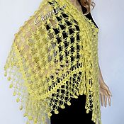 Аксессуары ручной работы. Ярмарка Мастеров - ручная работа Вязаная шаль, теплая ажурная шаль, необычная шаль крючком. Handmade.
