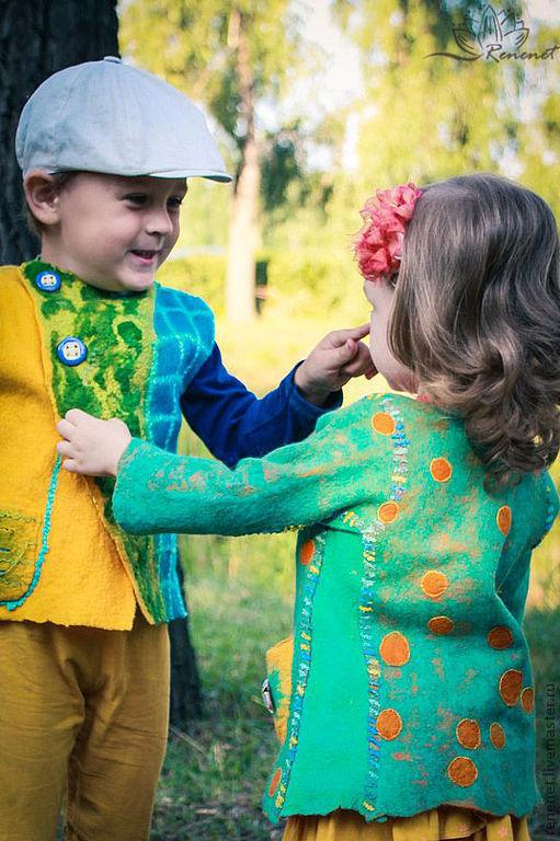 """Одежда для мальчиков, ручной работы. Ярмарка Мастеров - ручная работа. Купить Детский валяный жилет """"Сказочный лес"""".. Handmade. Зеленый"""
