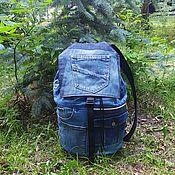 handmade. Livemaster - original item Denim backpack QuadroIII. Handmade.