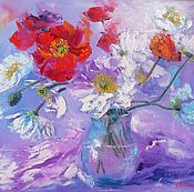 Картины и панно handmade. Livemaster - original item Painting oil on canvas poppies 40/50