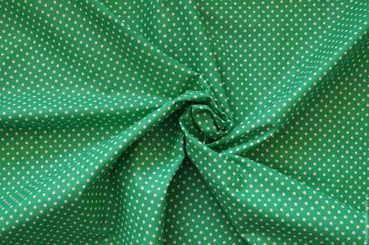 Шитье ручной работы. Ярмарка Мастеров - ручная работа. Купить Хлопок зеленый в белый горох. Handmade. Зеленый, ткань для творчества