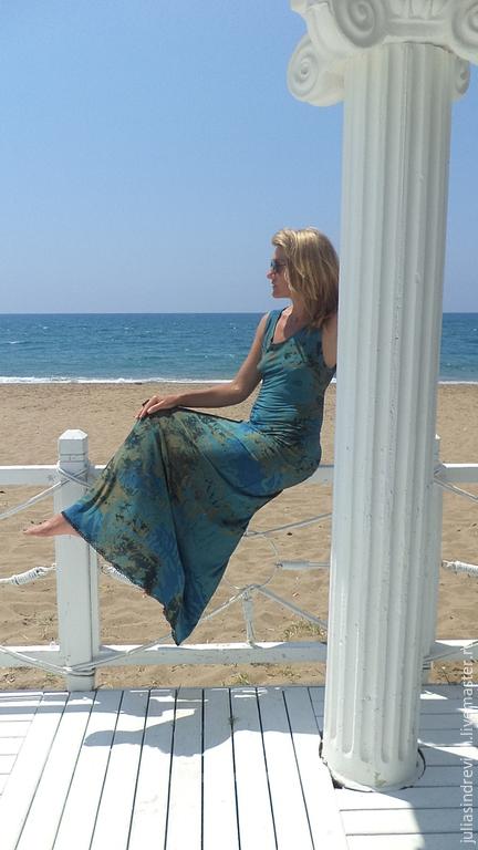 М_007 Платье длинное, цвет сине-зелено-горчичный, 100 % холодная вискоза, трикотаж. Очень женственное платье...